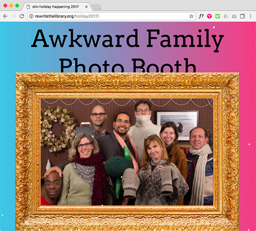 2017 Invitation, including faculty photobooth from the first Happening, 2015